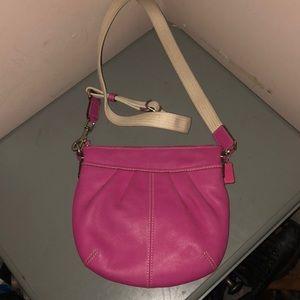 Coach pink leather crossbody swing bag cute